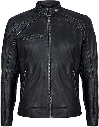 Men's Vintage Black Retro Casual Zipped 100% Leather Racing Biker Moto Jacket