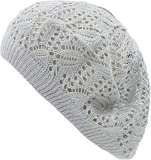 an Womens Lightweight Cut Out Knit Beanie Beret Cap Crochet Hat - Many Styles