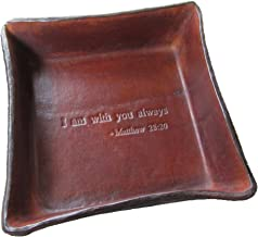 Twin Saints Religious Gift. Jesus Christ Bible Verse Leather Tray. I Am with You Always from Matthew 28:20. Great Gift for Confirmation, Communion, or Baptism.