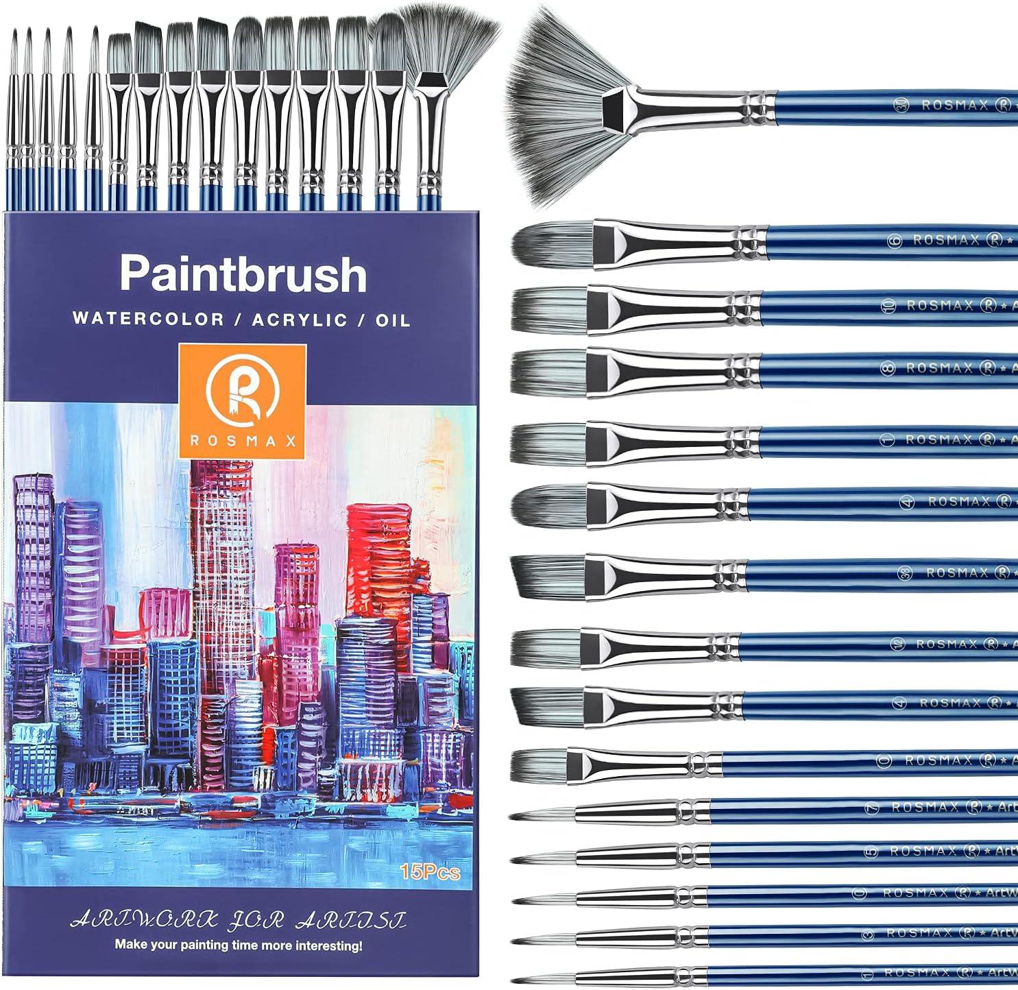 free shipping Indefinitely Rosmax Professional Acrylic Paint Brush 15 Painting of Set Brus