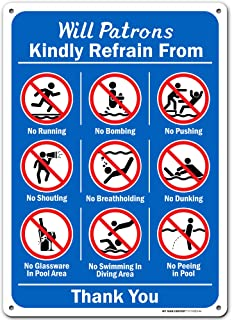 """Swimming Pool Rules Sign, 10"""" x 14"""" Industrial Grade Aluminum, Easy Mounting, Rust-Free/Fade Resistance, Indoor/Outdoor, U..."""