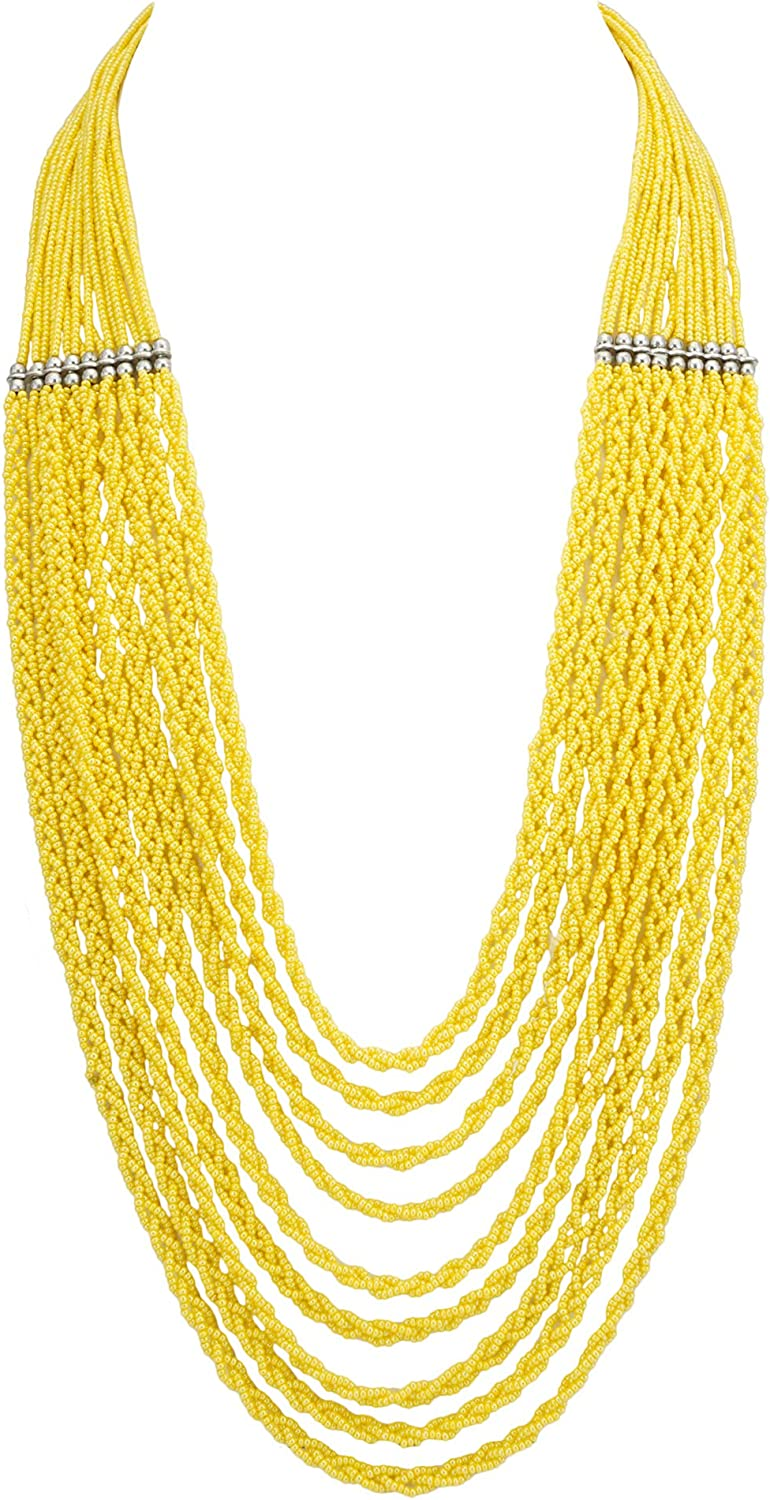 El Allure Multi Layered Lustrous Yellow Preciosa Jablonex Small Glass Seed Bead Twisted Ropes Trendy Handmade Fine Unique Partywear Fashion Statement Long Necklace for Women.