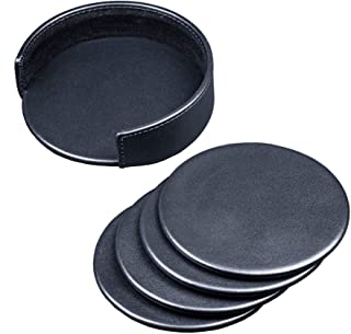 Dacasso Classic Black Leather Round Coaster Set