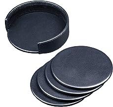 Dacasso Classic Black Leather Round Coaster Set