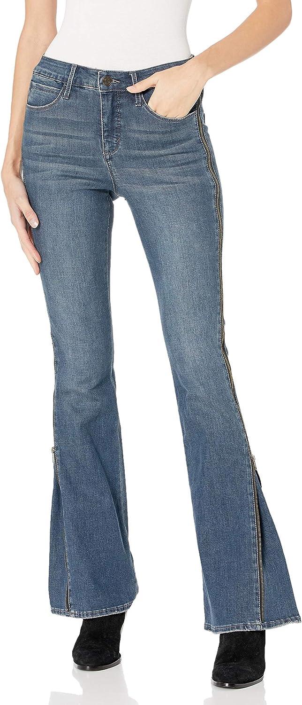 Skinnygirl Women's Power Moves High Rise Zip Flare Jean