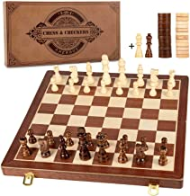 AMEROUS 15 Inches Magnetic Wooden Chess & Checkers Set (2 in 1) - Folding Board -Gift Box Packed -24 Cherkers Pieces -2 Ex...