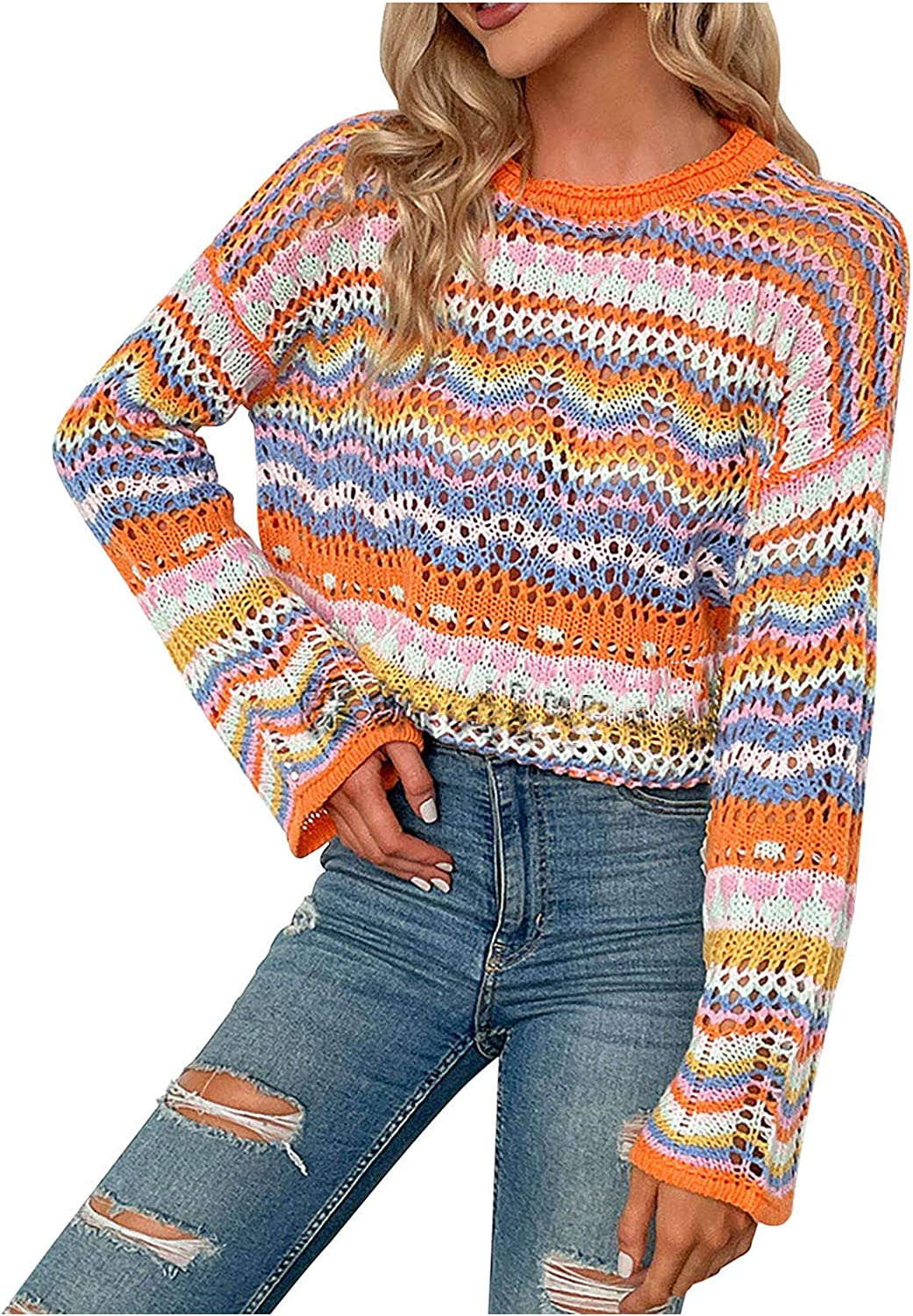 Women's Long Sleeve Hollow Out Lightweight Crochet Knit Sweater Casual Crew Neck Stripe Color Block Loose Pullover