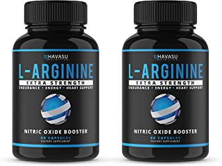 Havasu Nutrition Extra Strength L Arginine - 1200mg Nitric Oxide Supplement for Muscle Growth, Vascularity and Energy - L-Citrulline & Essential Amino Acids to Support Physical Endurance, 2 Pack