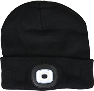 Unisex Knit Beanie Hat with 4 LED Torch Light Head Lamp One Size Outdoors Camping Fishing
