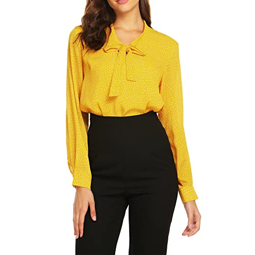 57392dbbccf ACEVOG Womens Bow Tie Neck Long Short Sleeve Casual Office Work Chiffon  Blouse Shirts Tops