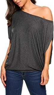 Women's Off Shoulder Blouse Loose Batwing Sleeve Tops