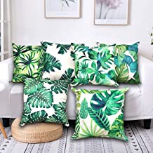 SYOSIN Tropical Green Leaves Decorations Throw Pillow Covers 6-Pack, Tropical Palm Monstera Leaves Print, Summer Green Decor, Outdoor Couch Sofa,Home Pillow Covers, 18x18 Inch,45x45 cm