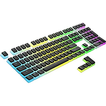 HK Gaming 108 Double Shot PBT Pudding Keycaps Keyset for Mechanical Gaming Keyboard MX Switches (Black Top)