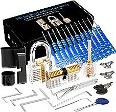 Luxebell Lock Picking, 33 stuks Lock Pick Set met 3 transparante hangsloten bieden 4 trainingsniveaus voor beginners en sl...
