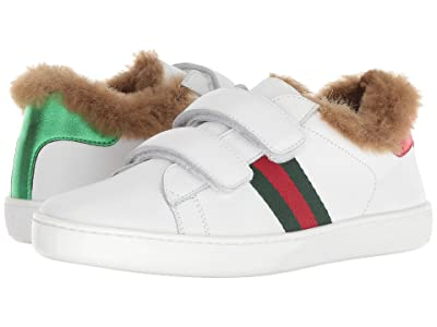 Gucci Kids New Ace Faux Fur Sneaker (Little Kid) (Green/White) Kids Shoes