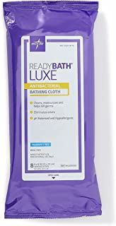 Medline ReadyBath LUXE Antibacterial Body Cleansing Cloths Wipes, Fragrance Free, Extra Thick Wipes (8 Count Pack, 24 Packs)