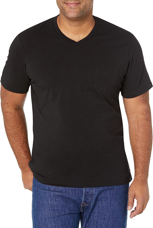 Amazon Essentials SEAL limited product Mail order Men's 2-Pack Short-Sleeve Slim-Fit V-Neck Pock