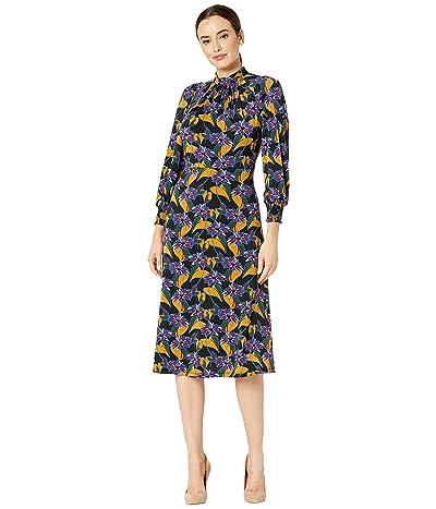 Adrianna Papell Leafy Hearts Mock Neck Dress (Black Multi) Women