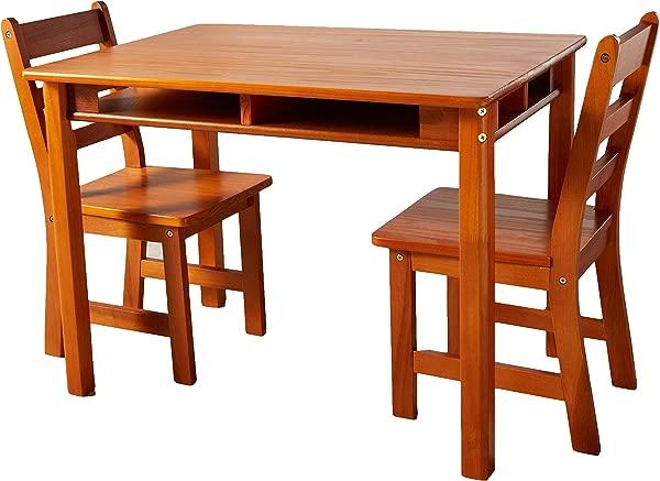 Lipper International 534P 儿童长方形桌子,配有搁板和 2 把椅子山核桃饰面