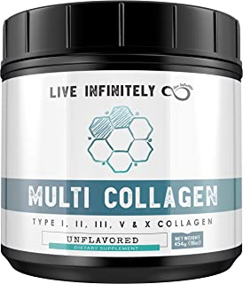 Sponsored Ad - Multi-Collagen Peptides Protein Powder - Type I, II, III, V & X - Pure Blend of Grass-fed Beef, Chicken, Eg...