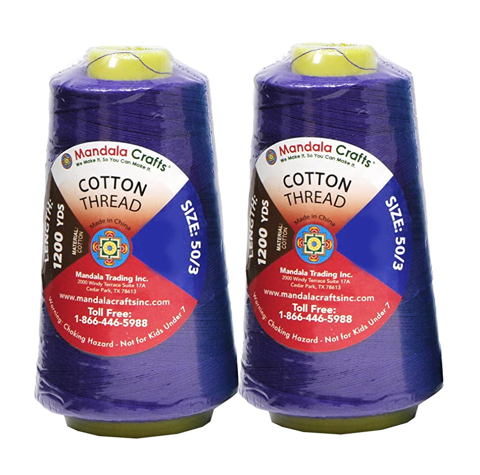 Mandala Crafts Quilting Cotton Thread Cone for Machine and Hand Sewing, 100 Percent Natural Mercerized, 50 wt (2 Rolls 2400 Yards, Violet)