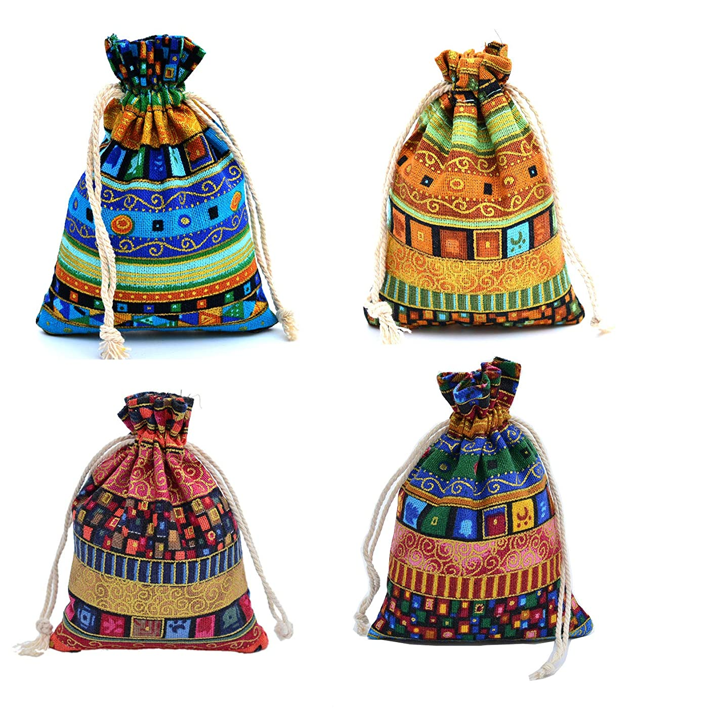 Venxic 20PCS Aztec Indian Prints Gift Bags Drawstring Jewelry Pouches Party Favors 5.4