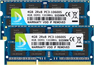 DUOMEIQI 8GB Kit (2 X 4GB) 2RX8 PC3-10600 PC3-10600S DDR3 1333MHz SO-DIMM CL9 204 Pin 1.5v Non-ECC Unbuffered Laptop Memory Notebook RAM Module for Intel AMD and Mac Computer