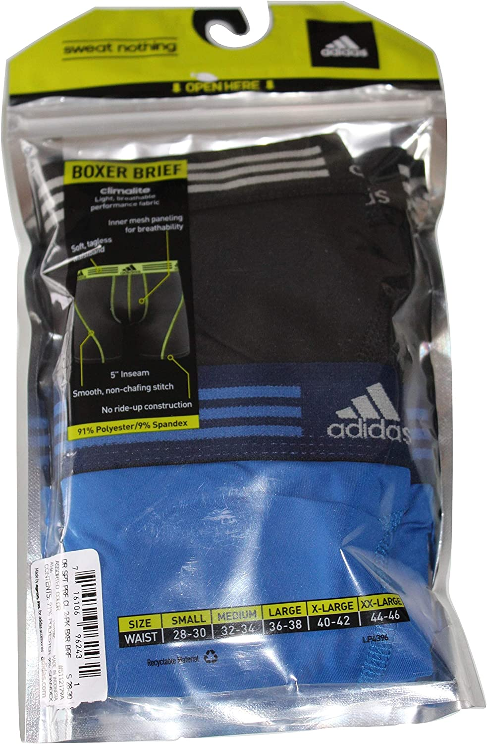 adidas Men 2-Pack Climalite Sport Performance Solid Boxer Briefs