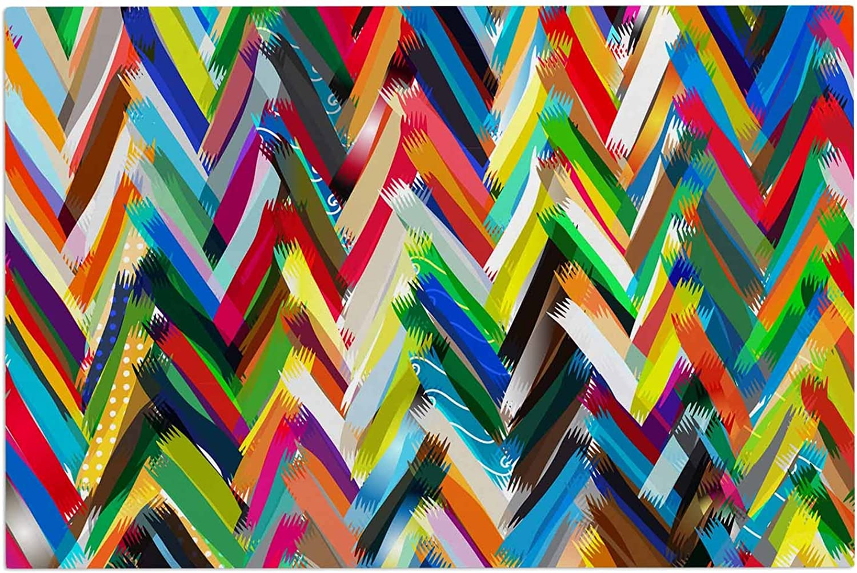 KESS InHouse Frederic Levy-Hadida Chevrons Rainbow Decorative Door, 2' x 3' Floor Mat