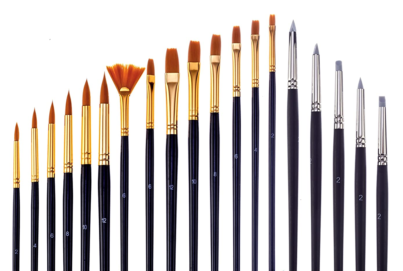 Jerry Q Art 19 Pcs Brush And Color Shaper Set. 14 Golden Nylon Round, Flat, Fan, Filbert Brushes And 5 Silicon Color Shapers. Multimedia Set JQ219