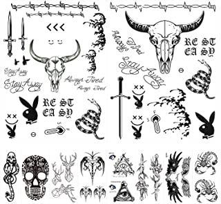10 Sheets Different Styles Post Malone Face Tattoo Set, Included Post Malone Tattoos and Death Eaters Tattoos, Halloween Post Malone Tattoos Temporary Accessories and Parties