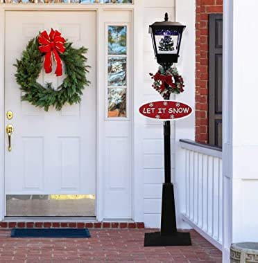 Fraser Hill Farm Let Series 71 Street Lamp Christmas Tree, 2 Signs, Cascading Snow, and Holiday Music, 71 Inch, Black with Tr