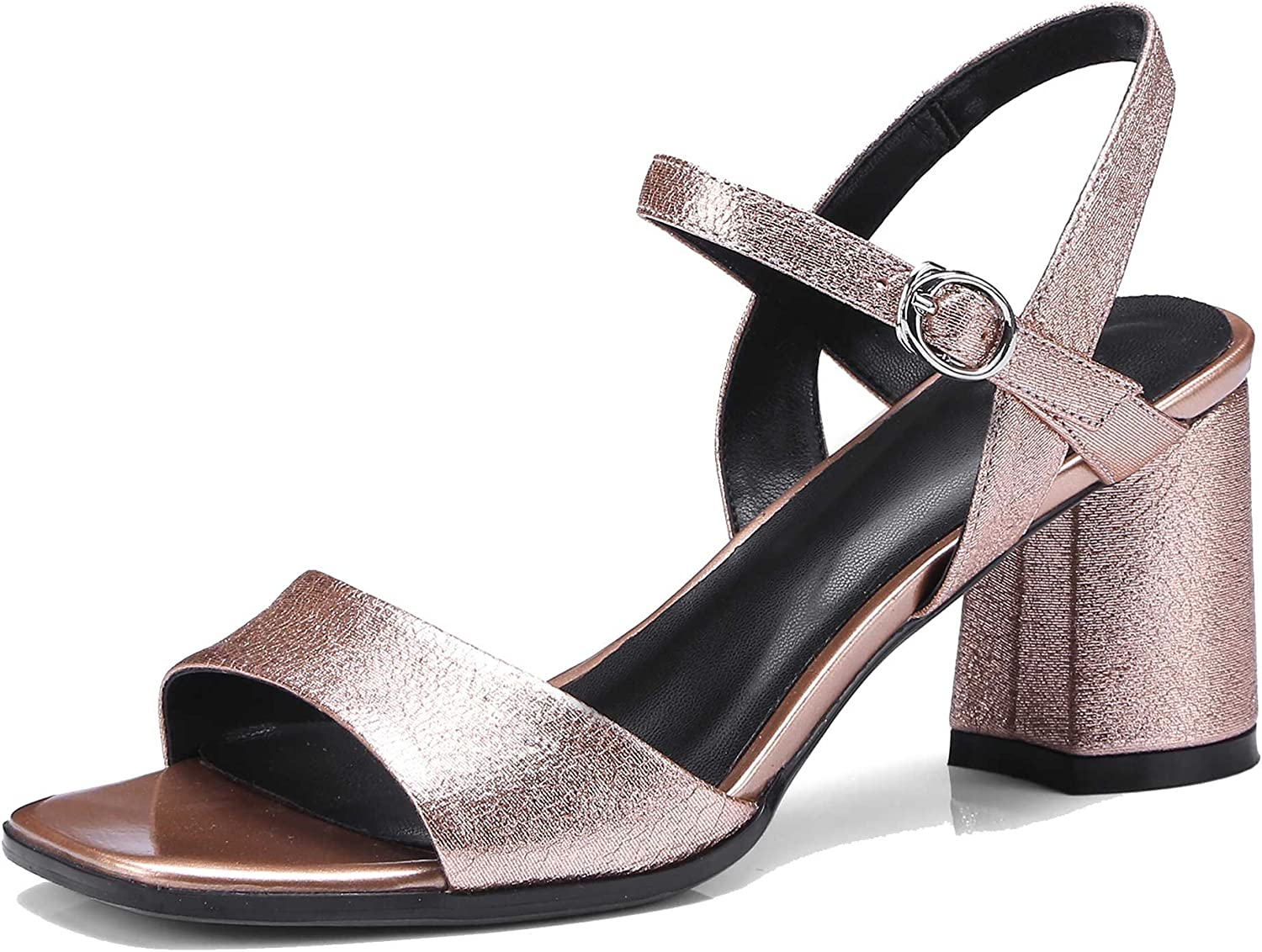 A-BUYBEA Women's Open-Toe 2.56  Middle Heeled Leather Sandal shoes Size 4-10 Champaign Gun-Metal Grey