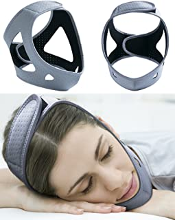 Anti Snoring Chin Strap Devices for Women&Men,Breathable Snore Stopper Reduction Adjustable Non Snoring Solution,Sleep Aid Device,CPAP Stop Snoring Solution/Support Belt/Brace/Headband/Mask (Grey)