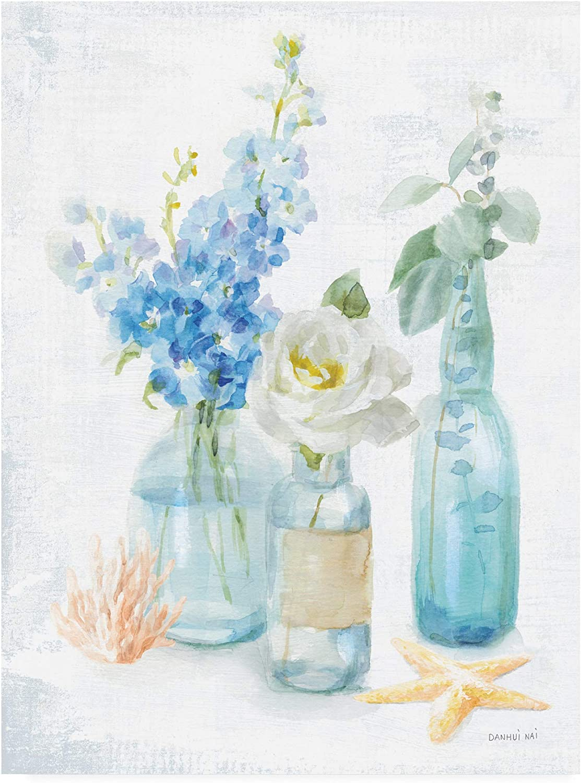 Trademark Fine Art Beach Cottage Florals II by Danhui NAI, 14x19