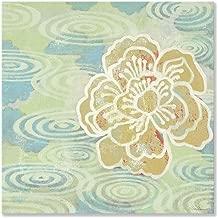 oopsy Daisy ، باللون الأزرق و رمادي داكن عليه زهور Pond الساحل من خليج الظلال وأظهر Stretched Canvas أعمال فنية جدارية من Sally bennett, blue#000099, green#339933, 14 by 14-Inch