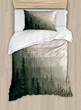 Ambesonne Forest Duvet Cover Set Twin Size, Northern Parts of The World with Coniferous Trees Scandinavian Woodland, Decorati