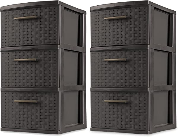 Sterilite 3 Drawer Wicker Weave Decorative Storage Tower Espresso 2 Pack