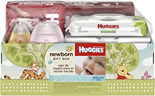 Huggies Newborn Gift Box - Little Snugglers Diapers (Size Newborn 24 Ct & Size 1 32 Ct), Natural Care Unscented Baby Wipes...