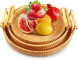 Wicker Basket Rattan,Handwoven Baskets Baskets Table Tray With Handle Food 100% Woven Shape Flat Shallow Stackable,Used For Snack Breads Imitation Display Home Kitchen Fruit Fruit Bowl (3 Pcs)