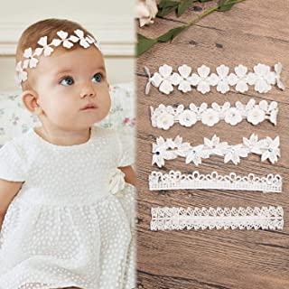 5 Pack Baby Girl Headbands and Hair Bows Accessories Lace Flowers Soft Nylon Hairbands Floral Head Wraps for Newborn Infan...