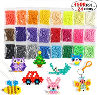 Aqua Fuse Beads Refill Set Water Beads Non-Toxic Safe Art Crafts Toys for Kids Handmake STEM Educational kit-4800 Beads in 24 Different Colors
