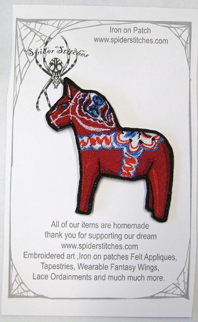 Cute Dala Horse Iron on Patch Applique embroidered Dalarna Sweden