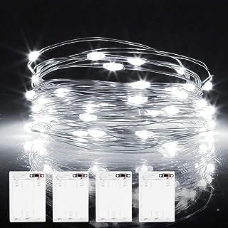 Molbory guirlandes lumineuses à LED avec minuteur, IP65 étanche Blanc.