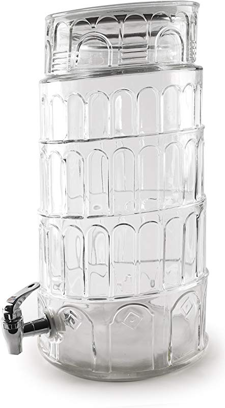 Circleware 69126 R Sun Tea Jar Beverage Dispenser And Glass Lid Party Entertainment Home Kitchen Glassware Water Pitcher For Juice Beer Kombucha Cold Drinks Huge 2 2 Gallon Tower Of Pisa
