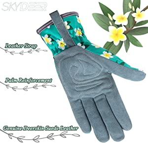 SKYDEER Womens Gardening Gloves with Deerskin Leather Suede for Yard Work, Rose Pruning and Daily Work