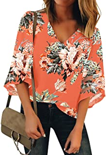 938c3ebc30599e LookbookStore Women's V Neck Mesh Panel Blouse 3/4 Bell Sleeve Loose Top  Shirt