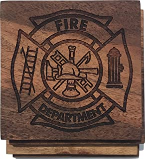 Firefighter Maltese Cross Drink Coasters - Gift for Firefighter, Promotion or Retirement Gift - Engraved Acacia Wood Design - Set of Four
