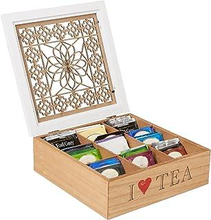 جعبه نگهدارنده کیسه چای Mind Reader با الگوی گل های چوبی ، قهوه ای
