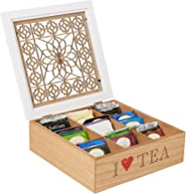 MIND READER Tea Bag Sorter and Organizer [Wooden Floral Pattern   9 Compartments] Teabag or Coffee Caddy, Sugar Packets an...